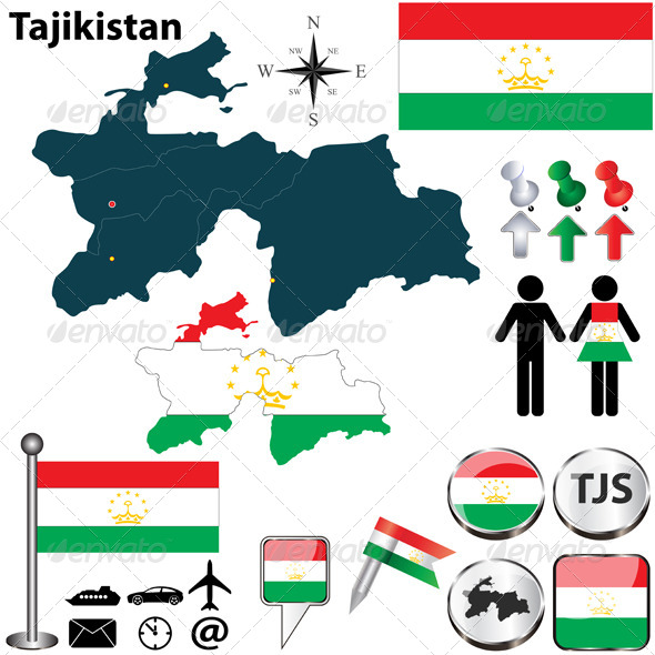 Map of Tajikistan - Travel Conceptual