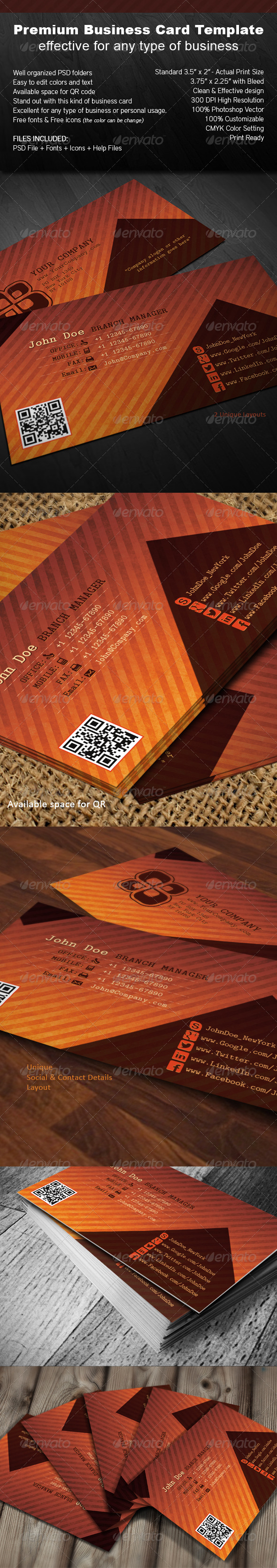 Orange Brown - Business Card - Corporate Business Cards