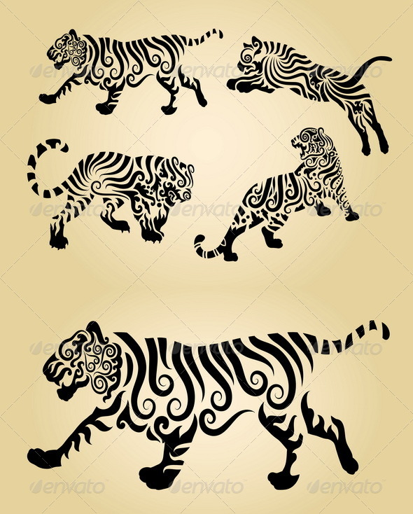 Tiger Floral Decorations - Animals Characters