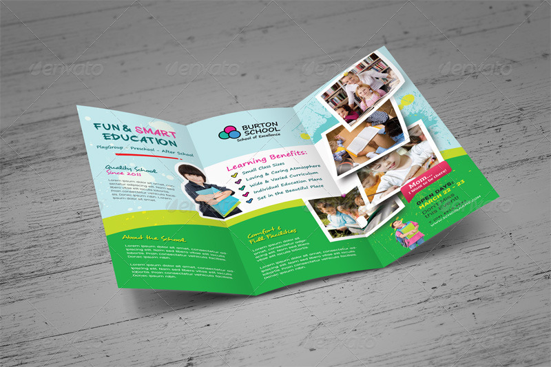 Junior School Trifold Bifold Brochures By Kinzi GraphicRiver - Tri fold school brochure template