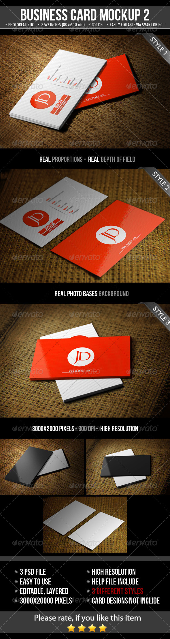 3 Realistic Business Card Mock-Up by Mejora | GraphicRiver