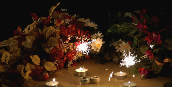 Birthday Candles And Flowers Stock Footage