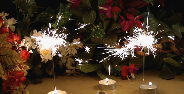 Birthday Candles And Flowers 2 Stock Footage
