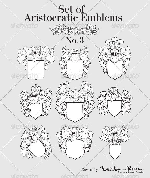 Set of Aristocratic Emblems No3 - Vectors