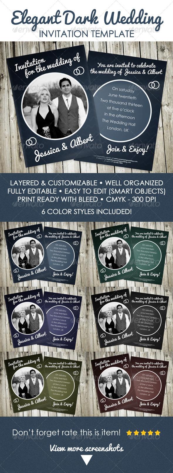 Elegant Dark Wedding Invitation - Weddings Cards & Invites
