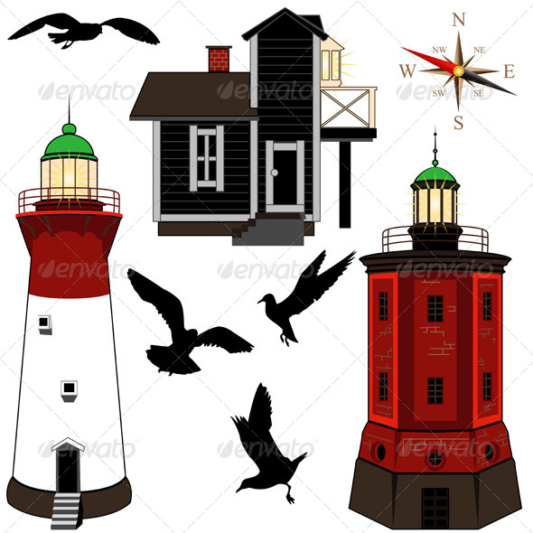 Set of Lighthouses - Travel Conceptual
