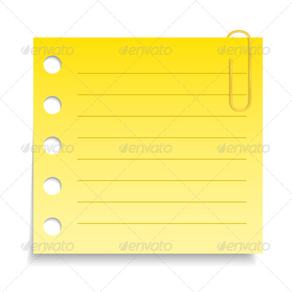Yellow Paper Note - Objects Vectors