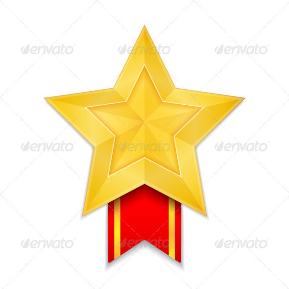 Star Shaped Medal - Objects Vectors