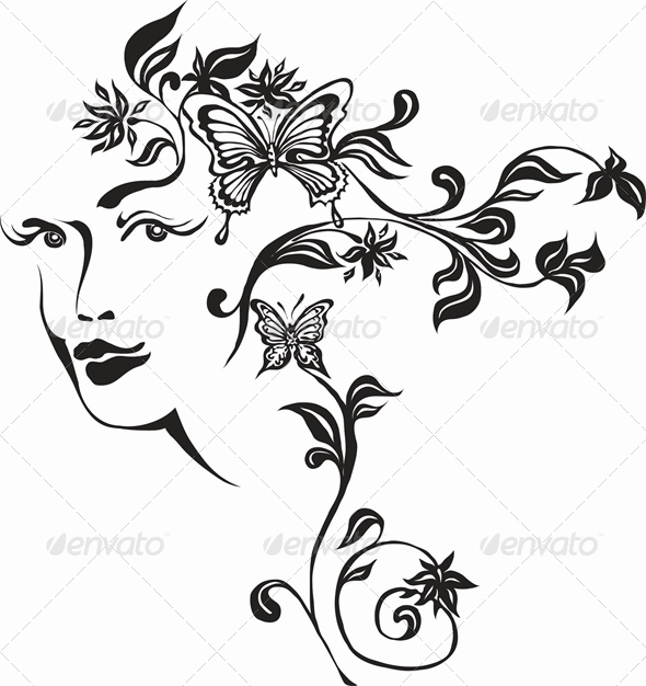 Girl - Tattoos Vectors