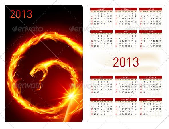 Calendar twenty thirteen. Fire Snake - Miscellaneous Vectors
