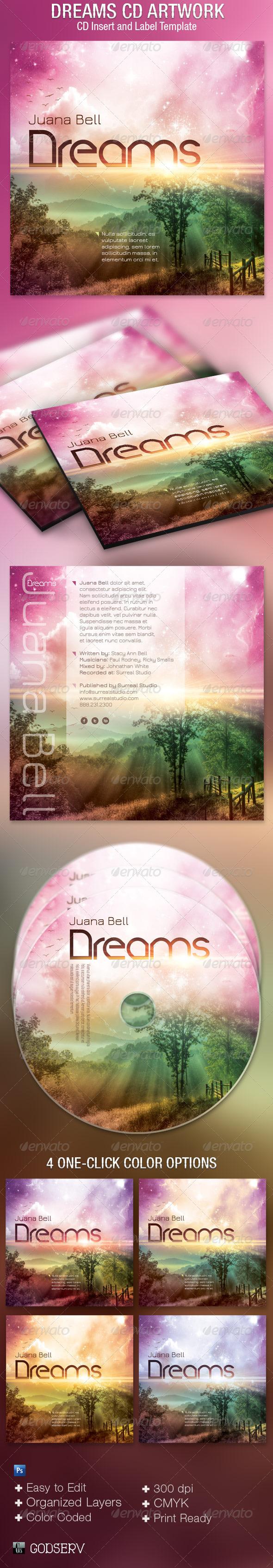 Dreams CD Artwork Template - CD & DVD Artwork Print Templates