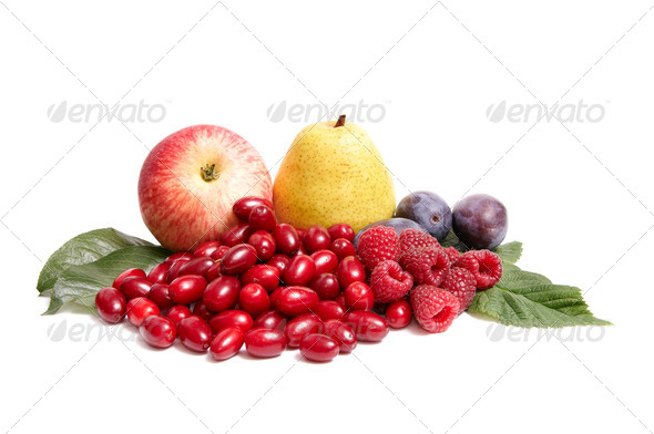 Wonderful,juicy autumn fruits on a white. - Stock Photo - Images