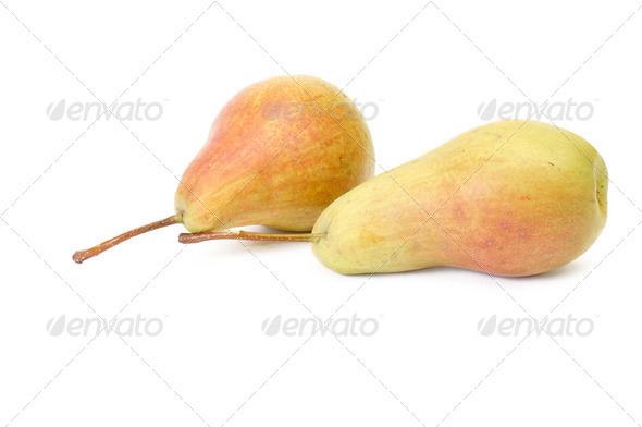 Two ripe pears on a white. - Stock Photo - Images