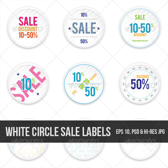 Sale White Shadowy Labels - Decorative Symbols Decorative