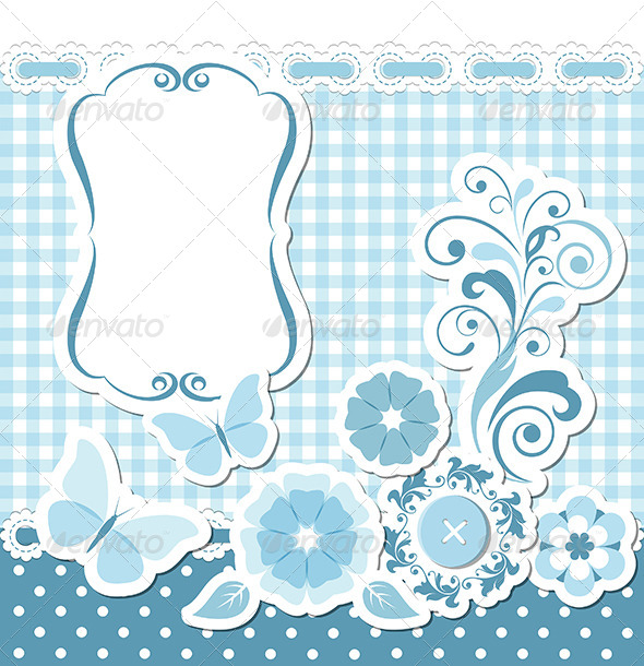 Floral Scrapbook Blue Set - Borders Decorative
