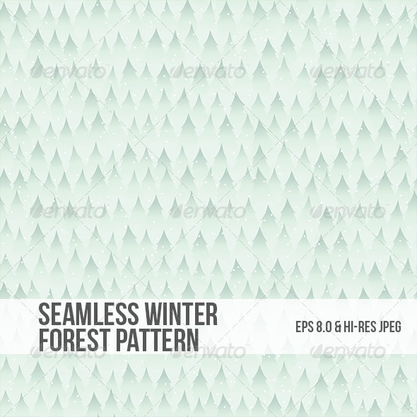 Seamless Winter Forest Background Pattern - Christmas Seasons/Holidays