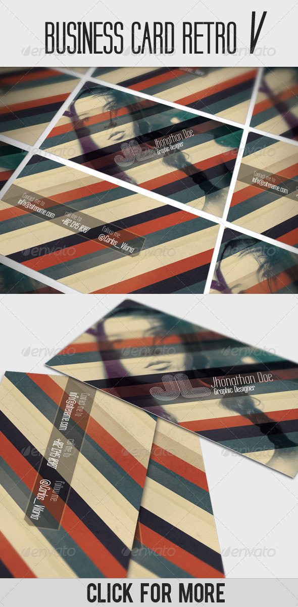 Business Card - Retro V - Business Cards Print Templates