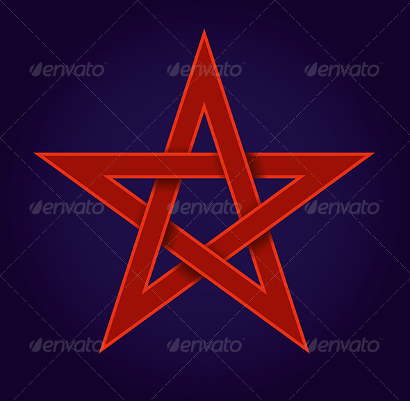 Red Pentagram on Blue Background - Decorative Symbols Decorative