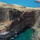 Portugal. Madeira Island. Rocky shores of the island. Aerial view.