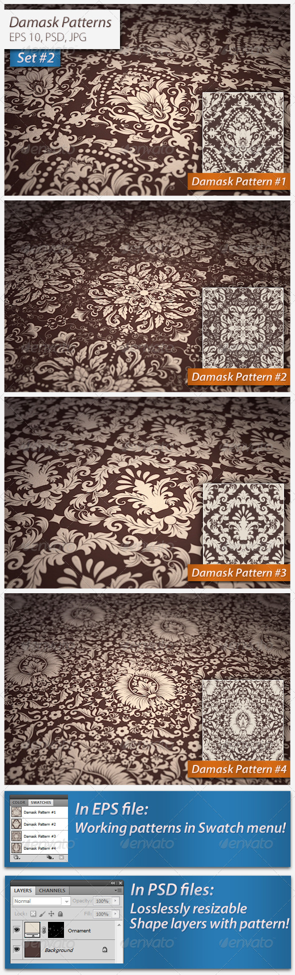 Seamless Damask Patterns Set - Patterns Decorative