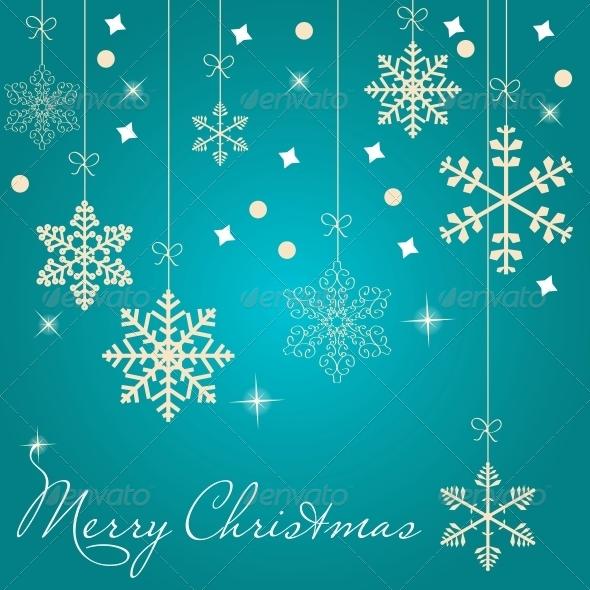 Christmas Card with Snowflakes  - Christmas Seasons/Holidays
