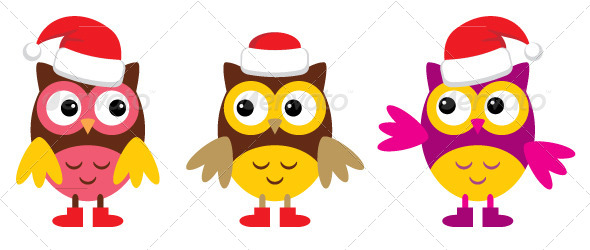 Owl in Christmas Hats - Animals Characters
