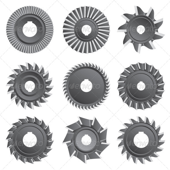 Milling Cutters for Metal on a White Background - Objects Vectors