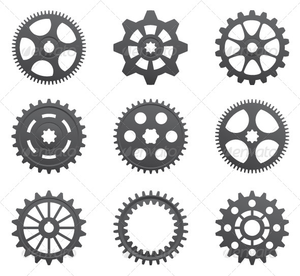 A Set of Gears and Pinions on a White Background. - Industries Business
