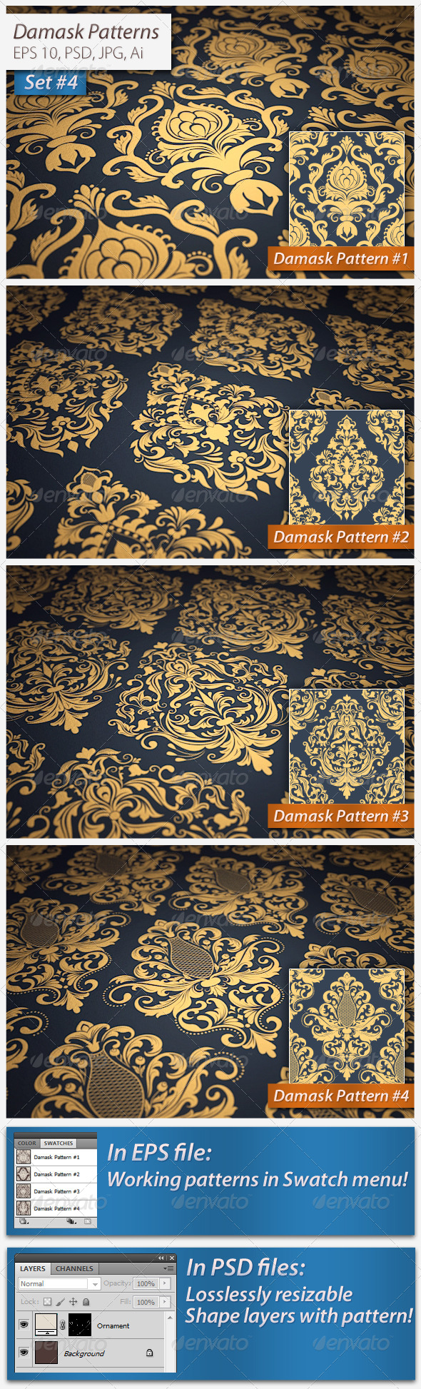 Seamless Damask Patterns Set#4 - Patterns Decorative