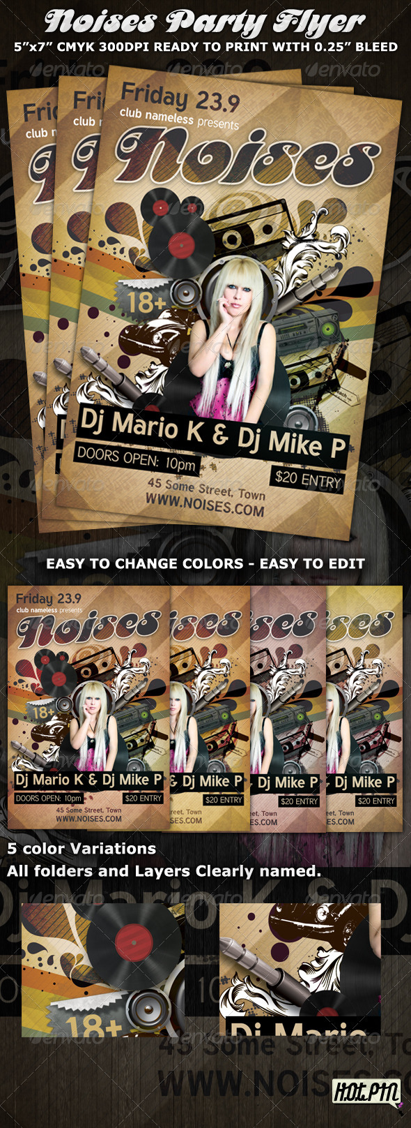 Noises Party-Club Flyer Template - Clubs & Parties Events