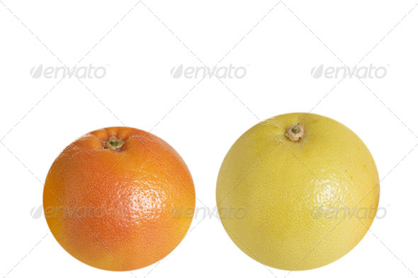 Very tasty grapefruits on a white - Stock Photo - Images