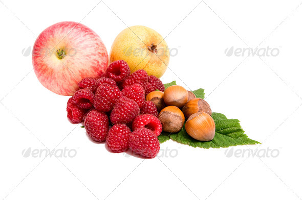 Fresh autumn fruits on a white. - Stock Photo - Images