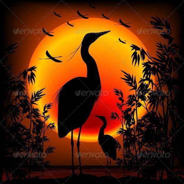 Heron Shape on Stunning Sunset - Animals Characters