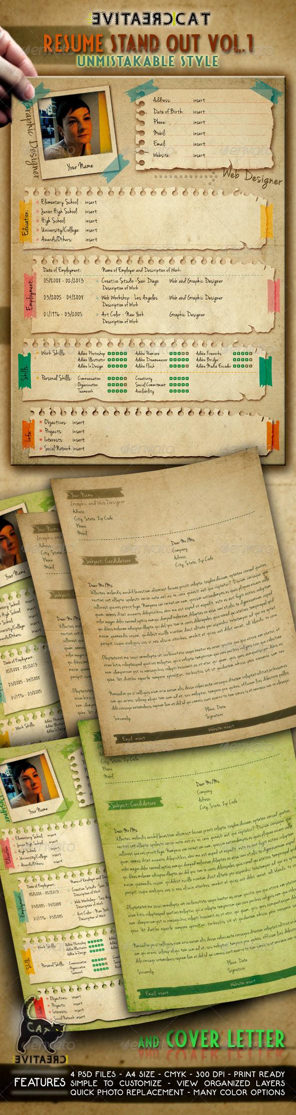 Resume/CV + Cover Letter Vol.1 - Resumes Stationery