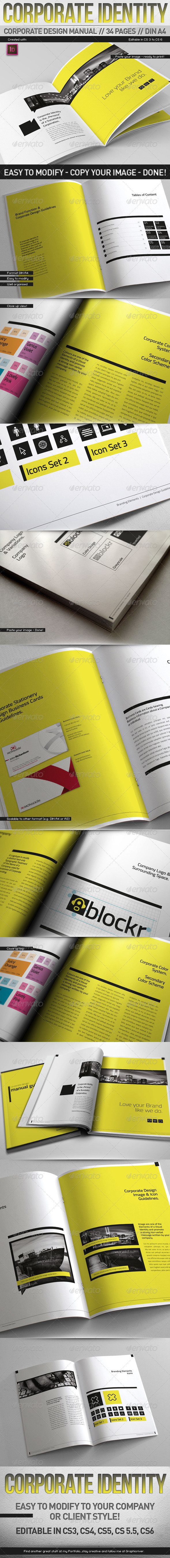 Corporate Design Manual Guide DIN A4 // 34 Pages - Corporate Brochures