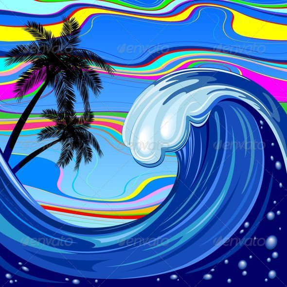 Ocean Wave and Palm Trees - Miscellaneous Seasons/Holidays
