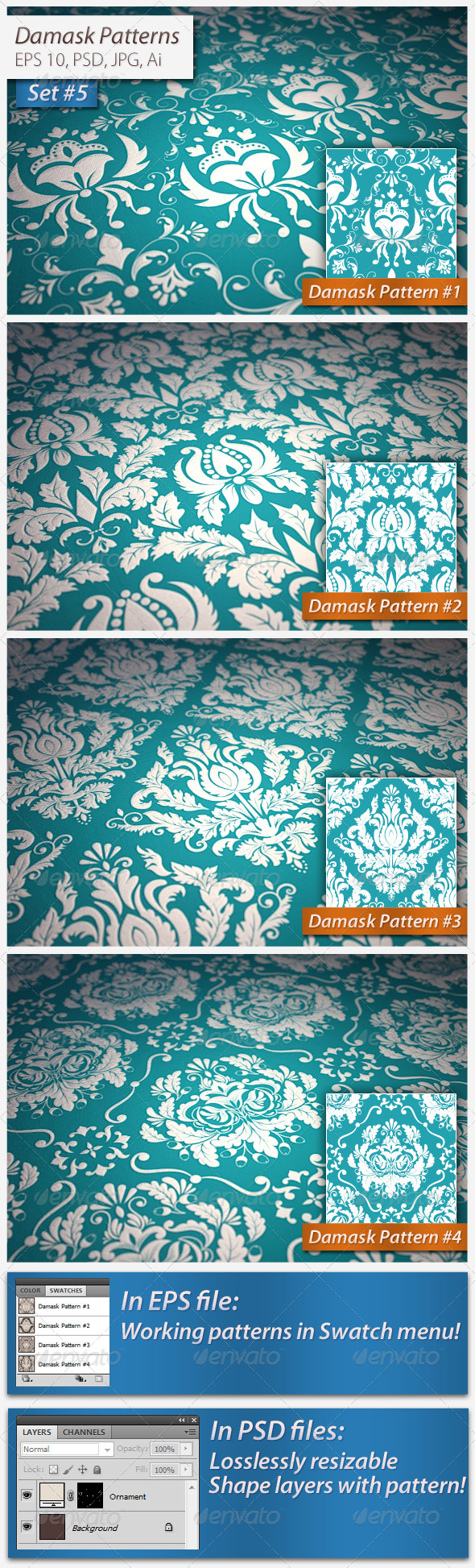 Seamless Damask Patterns Set#5 - Patterns Decorative