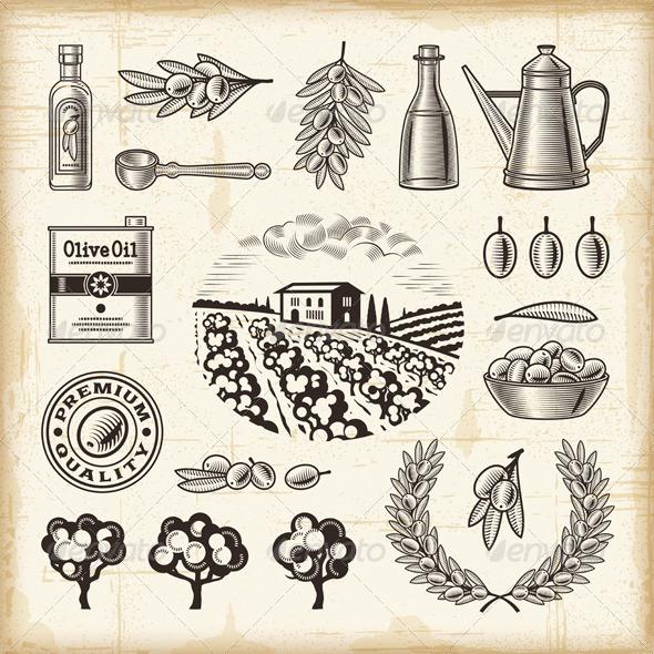 Vintage Olive Harvest Set - Decorative Symbols Decorative
