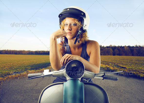 vintage scooter - Stock Photo - Images