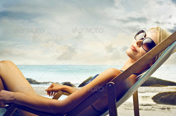 sunbathing - Stock Photo - Images