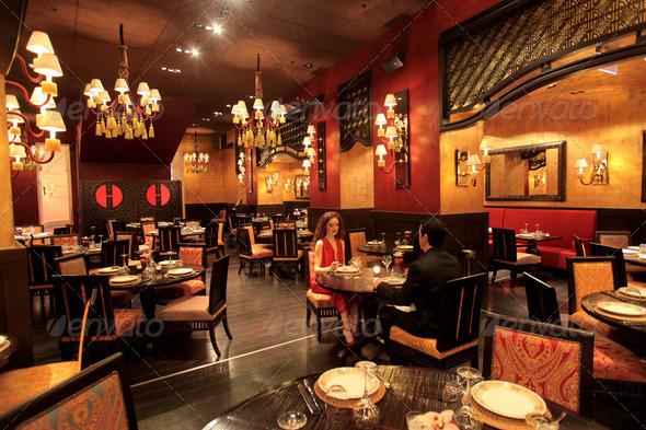 romantic restaurant - Stock Photo - Images