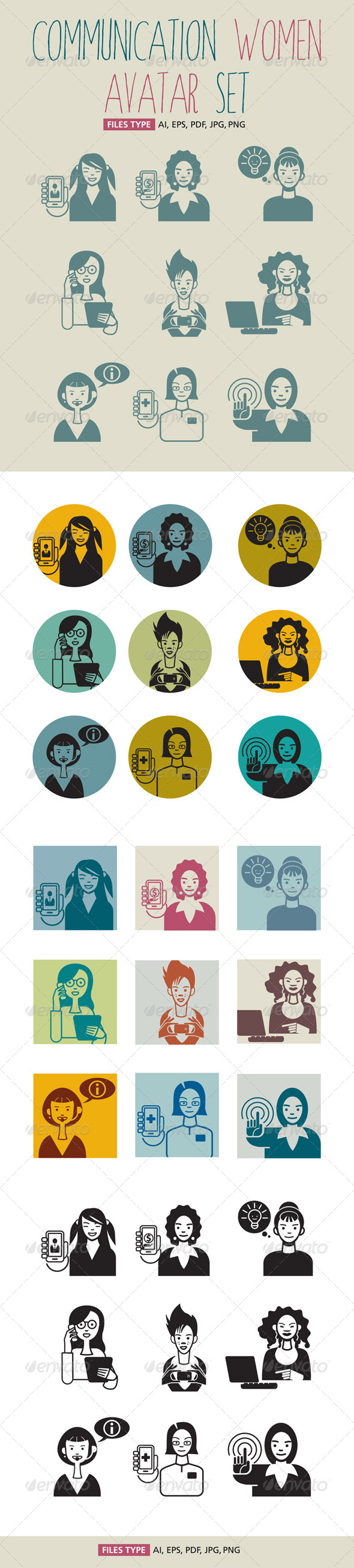 Communication Women Avatar Set - Characters Vectors