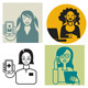 Communication Women Avatar Set - GraphicRiver Item for Sale