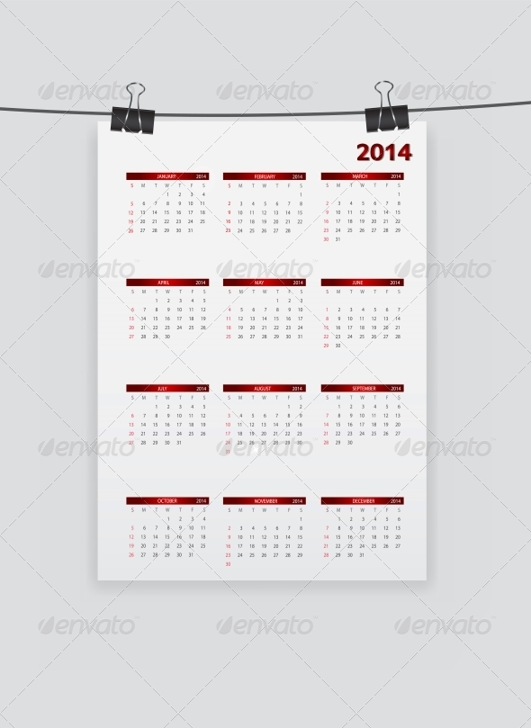 2014 New Year Calendar Vector Illustration - Christmas Seasons/Holidays