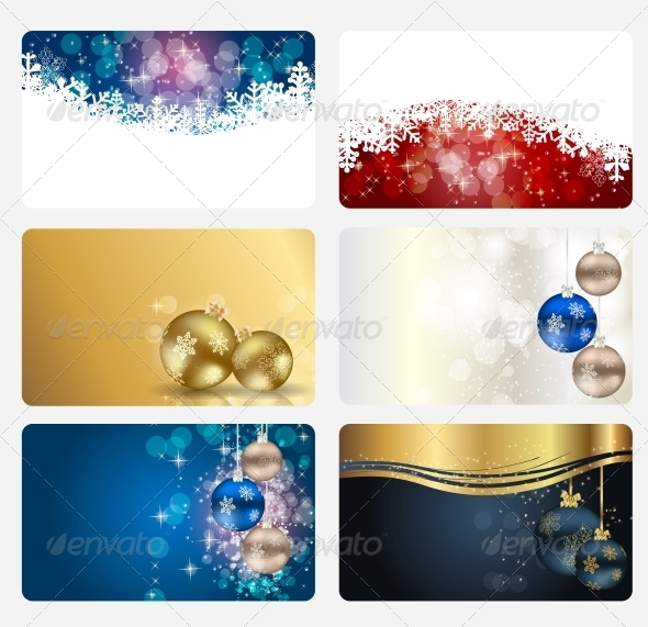 Set of Cards with Christmas Balls, Stars and Snow - Christmas Seasons/Holidays