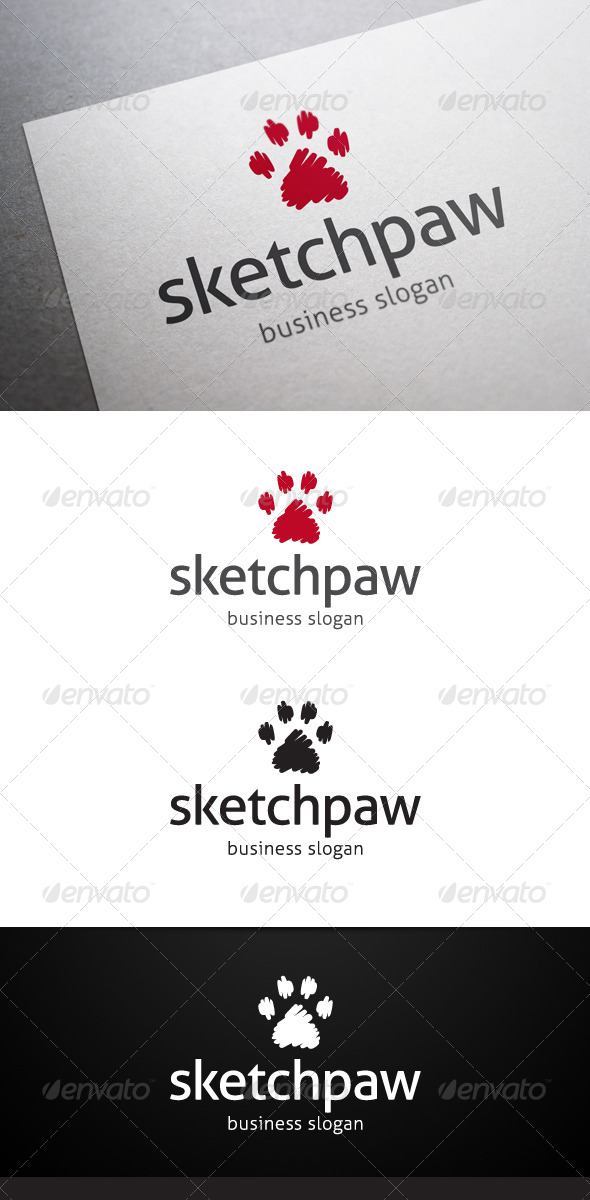 Sketch Paw Logo - Animals Logo Templates