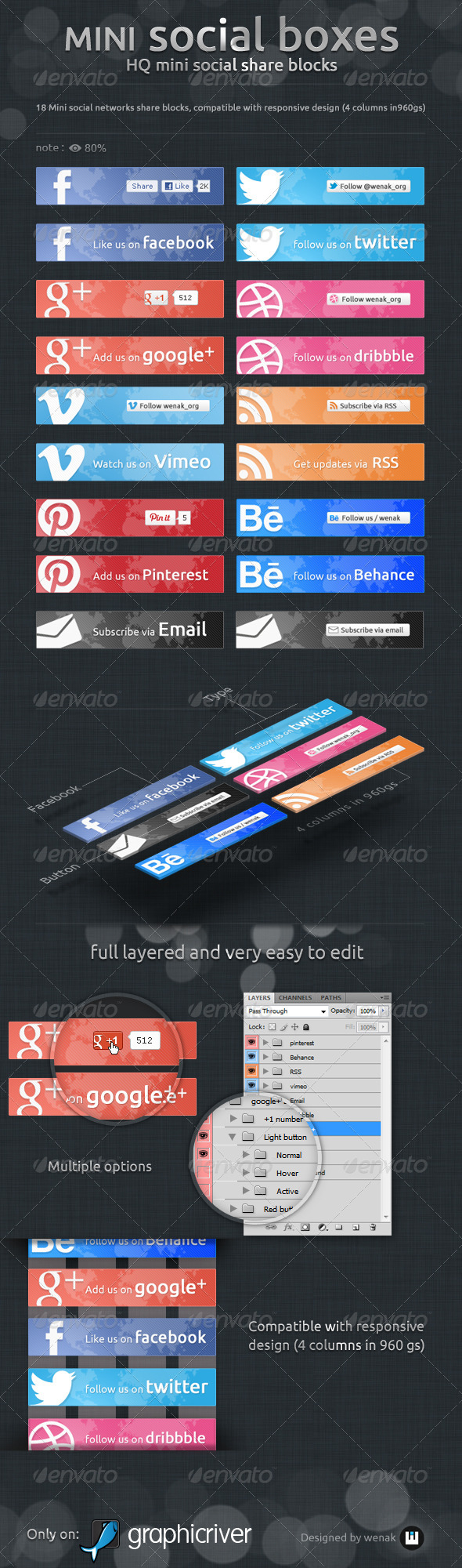 Mini Social Boxes - Social Share Blocks - Buttons Web Elements