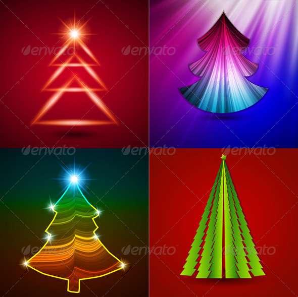 Vector Set - Decorative Christmas Trees  - Christmas Seasons/Holidays