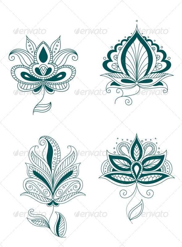 Set of Abstract Persian or Indian Flowers - Flourishes / Swirls Decorative