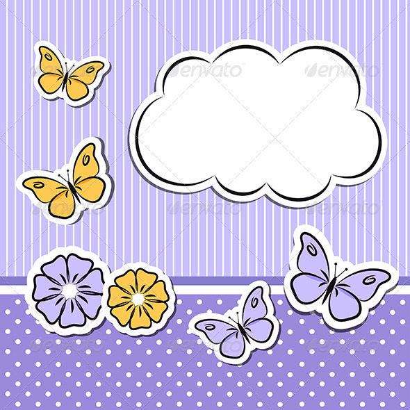 Paper Cloud With Flowers and Butterflies - Decorative Symbols Decorative
